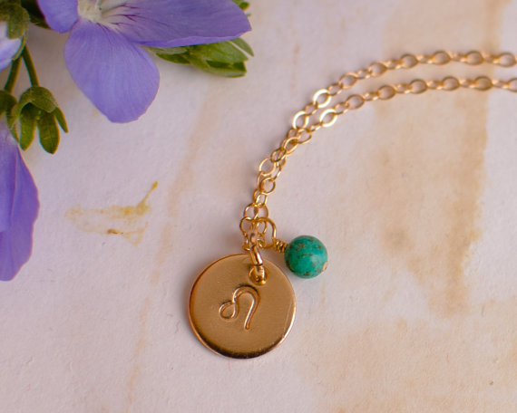Leo Necklace – small gold Leo Zodiac Pendant on 14k Gold Filled Chain with Turquoise or CHOOSE GEMSTONE – Tiny Dainty by AnoushkaDesigns