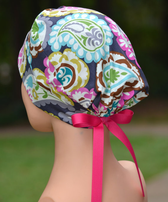 Surgical Scrub Hat Chemo Cap- The Mini- Boho with FUCHSIA RIBBON TIES by thehatcottage