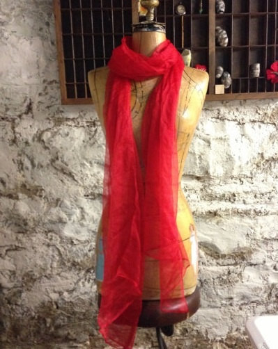 Red Extra long Silk Gauze Scarf for Nuno Felting by moi123