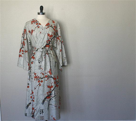 Mid Calf Kimono Robe. Dressing Gown. Bathrobe. Maternity Robe. Modern Kimono Garden Grey. by ModernKimonoRobes