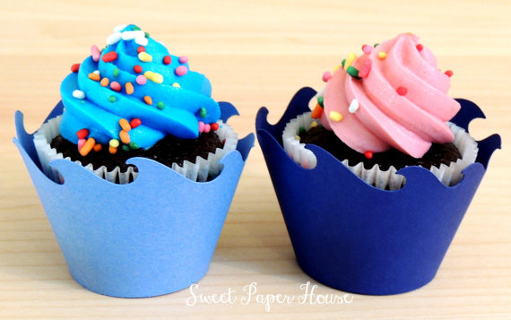 24 Wave Cupcake Wrappers - Six Shades of Blue (Cardstock) (Summer, Spring, Party, Theme, Water, Pool, Shark, Fish, Whale, Dolphin, Frozen) by SweetPaperHouse