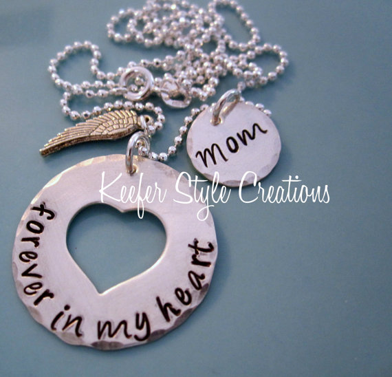 Hand Stamped Forever in my Heart Rememberance Necklace by KeeferStyleCreations