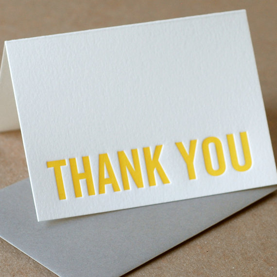 SECONDS SALE: Imperfect Modern Block Thank You Notes – Mixed box of 5 small folded cards w mixed colored envelopes by RubyPress