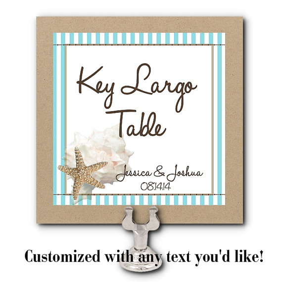 Table Number Cards, Food Labeling Cards, Table Signs, Wedding, Rehearsal Dinner, Shower, Sea Shells, Beach Theme, Aqua, Tans by NecessiTees