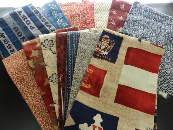 Destash Gettysburg Series Windham Fabrics Red Cream Blue Taupe Patriotic Fat Quarter Bundle 15 PCS by hollandvstk