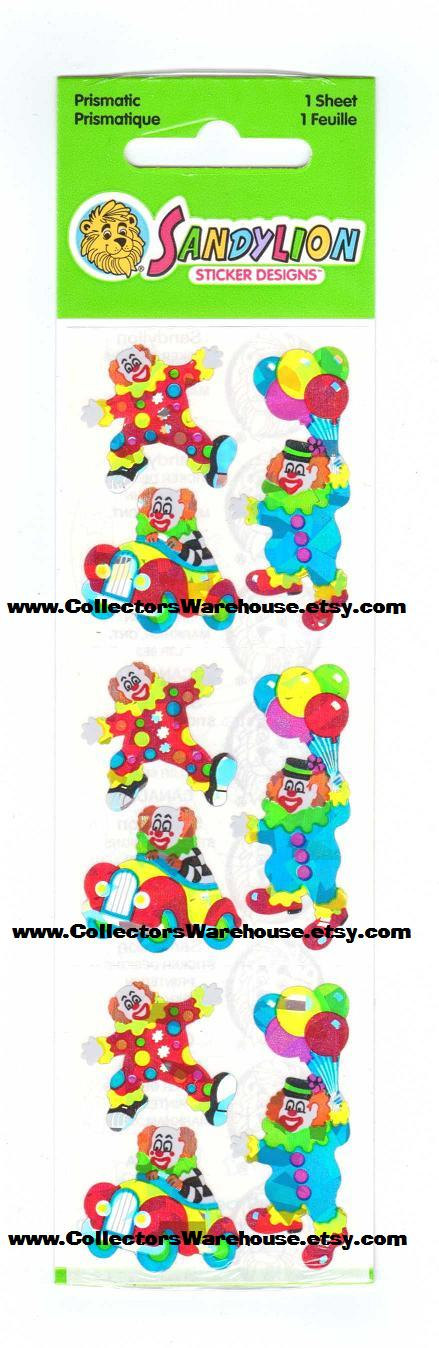 Clowns Sticker Strip NIP by Sandylion prismatic MOC circus birthday party clown by CollectorsWarehouse