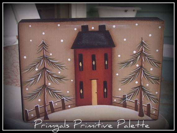 Primitive Winter Saltbox House Wood Shelf Sitter Block Holiday Home Decor Decoration by Primgal