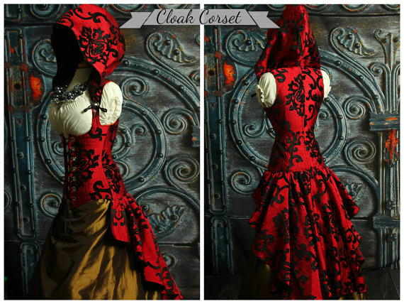 Custom Fit To You-Cloak Vixen Corset with Huge Ruffle and Hood by damselinthisdress