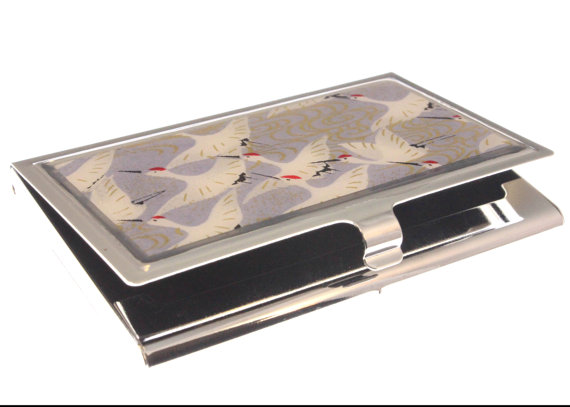 Lilac Cranes Chiyogami. Business card case. Gift card holder by Glassology