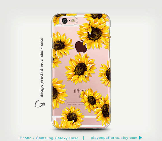 iPhone 6s Case, Galaxy S7 Case, Transparent Case, iPhone 6 Case, iPhone 6 Plus Case, Samsung Galaxy Cases, Clear Rubber, SunFlowers by playonpatterns
