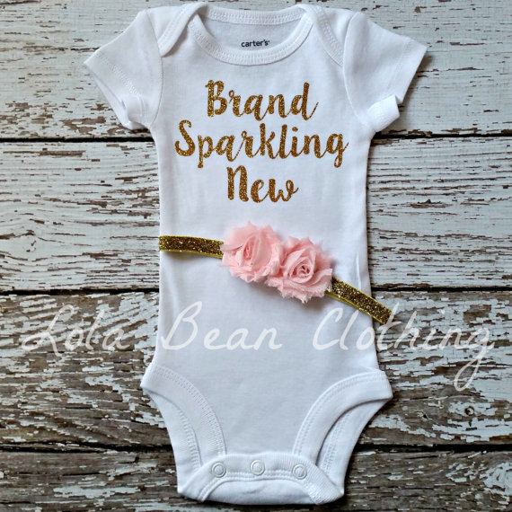 NEW Newborn Take Home Outfit Baby Girl Brand Sparkling New Bodysuit Headband LolaBeanClothing Gold Pink Coming Home Outfit by LolaBeanClothing