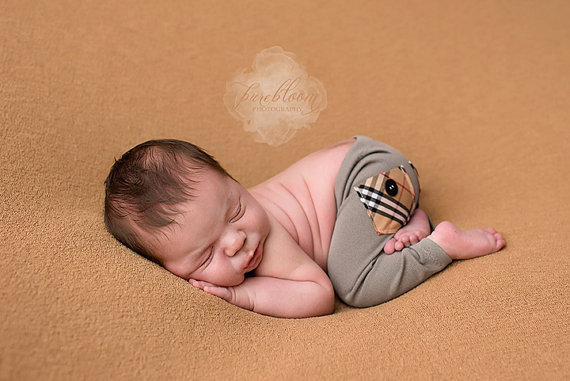 newborn boy PANTS with pockets (Corey) – photography prop – tan, cream, black, red, white, burberry by adorableprops