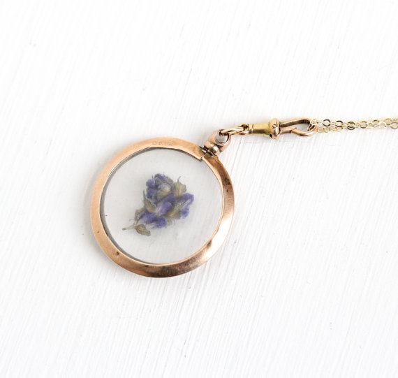 Antique 9k Rose Gold Photo Locket Pendant Necklace - Edwardian 1900s 9ct Dated 1905 Clear Lucite Cover Fine Pendant Photographic Jewelry by MaejeanVintage