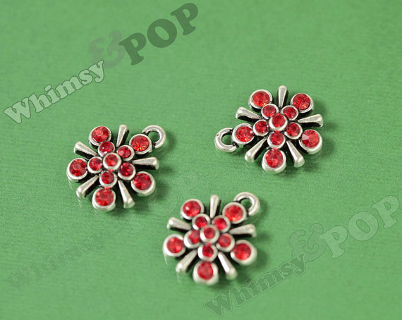 1 – Antique Silver Tone Red Flower Glass Crystal Rhinestone Pendant Charm, Flower Charm, 19mm x 15mm (R6-097) by whimsyandpop