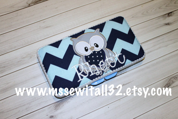 Custom Navy Chevron with Owl Applique Diaper Wipes Case by MsSewItAll32