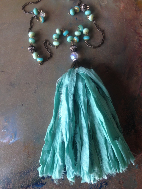 BoHo Sea Foam Bohemian Sari Silk Tassel Necklace Czech Glass Beaded Necklace Boho Gypsy Chic Fall Necklace by VintageEnvy