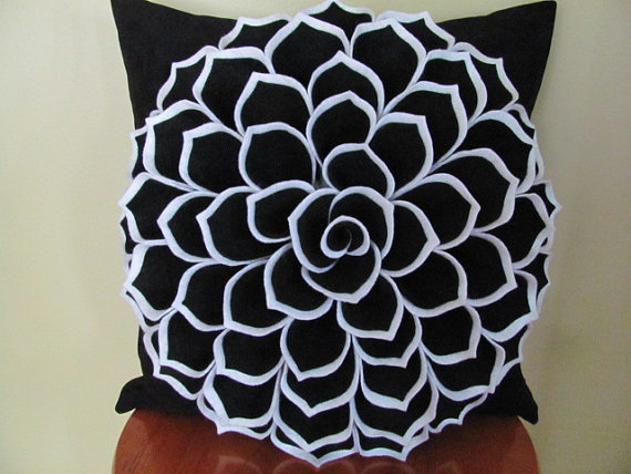 Decorative Pillow Felt Flower Pillow Pattern SOPHIA FLOWER Fabric Flower Pattern with 2 Bonus Pillow Cover Patterns Tutorial PDF ePattern by SewYouCanToo