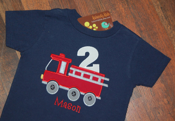 2400 USD This Monogrammed Firetruck Birthday T Shirt Would Make Any Boy Delighted The Art Work Is Machine Appliqued And With Your