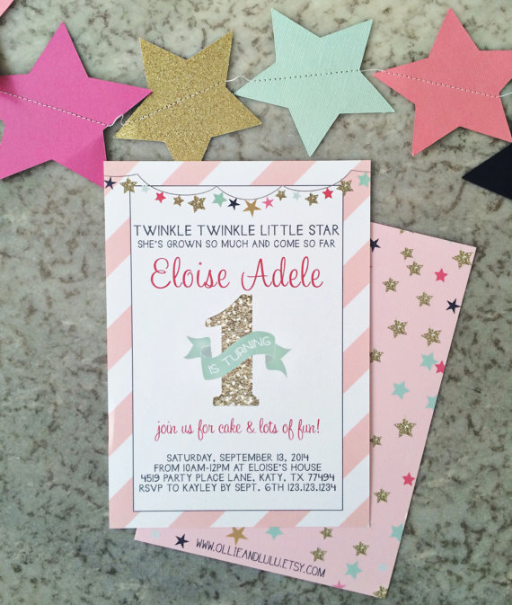 Pink and Gold Twinkle Twinkle Little Star 1st Birthday Invitations - Editable Instant Download by OllieAndLulu