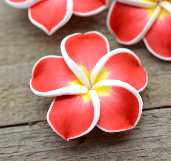 Red Polymer Clay Flower Beads, 10 pcs, 35mm, Hawaiian Flower -B112 by HempBeadery