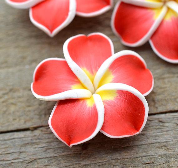 Red Polymer Clay Flower Beads, 10 pcs, 35mm, Hawaiian Flower -B112 by HempBeadery