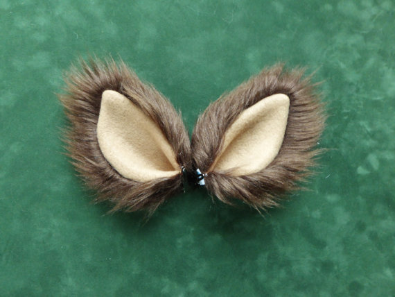 Brown Tan Faux Fur Ears Cat Dog Wolf Fox Coyote Dress Up Costume Halloween Cosplay by SaurianStudios