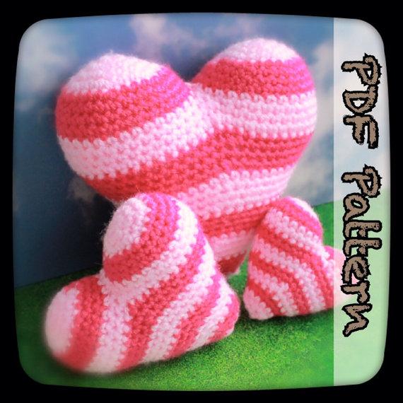 Stripy Heart Set – An Amigurumi Crochet Pattern – Digital Download – PDF – Crochet Heart – Heart Plush – Amigurumi Heart – EssHaych by EssHaych