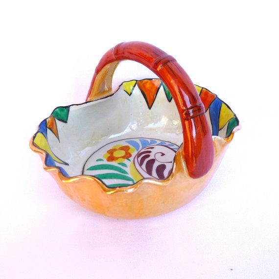 Vintage PEARLIZED Glaze CERAMIC BASKET/ Candy Dish by orangedoorvintage