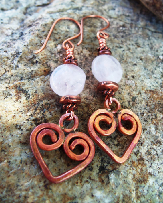 Copper Heart Earrings - Rose Quartz - Rustic Earrings - Cowgirl Jewelry - Gemstone Earrings by Heart of a Cowgirl by HeartofaCowgirl