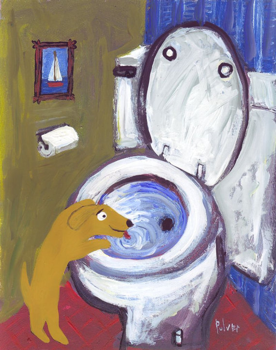 Dog Art Print - Yellow Lab or Golden Retriever Drinks Out of Toilet - Whimsical Funny Humorous Bathroom Decor Folk Art by 3crows
