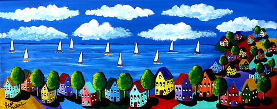 Colorful Shoreline Houses Sailboats Sailing Whimsical Original Folk Art Painting by reniebritenbucher
