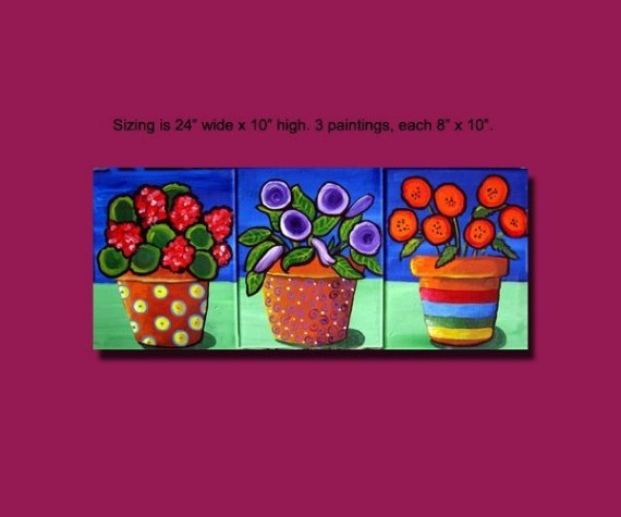 Funky Fun Colorful Flowers Vases Folk Art 3 Paintings Original Art Painting by reniebritenbucher