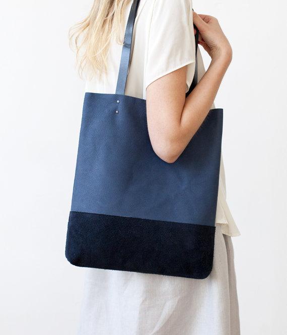 Blue & Suede tote Leather Tote bag by CORIUMI