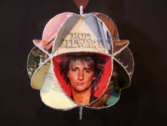 Rod Stewart Album Cover Ornament Made From Record Jackets by CraftySueShop